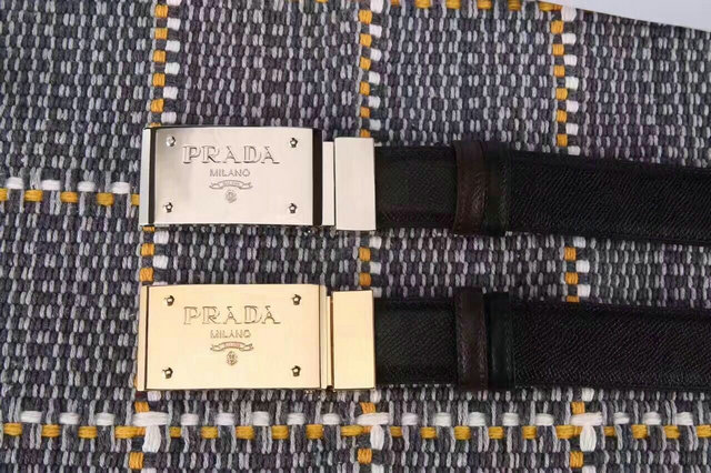 Prada Metal Buckle Belt in Black