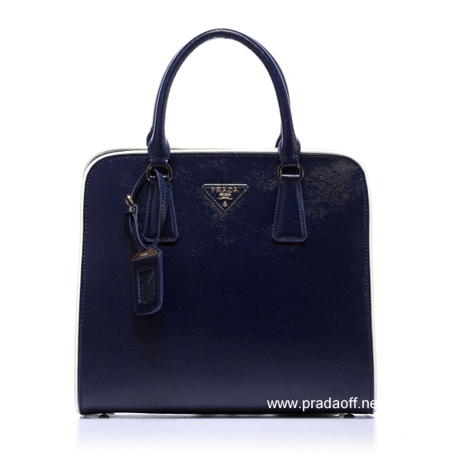 2012 Cheap Prada Saffiano Leather Tote Bag Navy Blue
