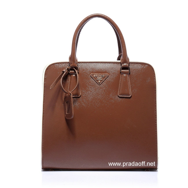 2012 Cheap Prada Saffiano Leather Tote Bag Brown