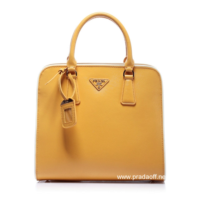 2012 Cheap Prada Saffiano Leather Tote Bag Yellow
