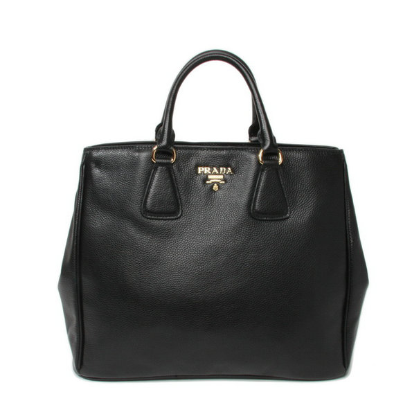 2013 New Prada Grained Calf Leather Tote BN2423 in Black