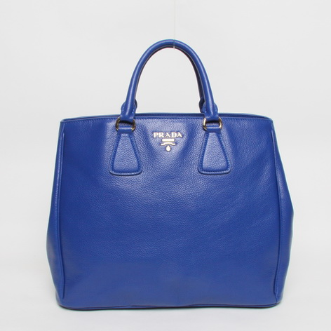 2013 New Prada Grained Calf Leather Tote BN2423 in Blue