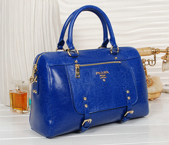 2013 New Prada Shiny Leather Tote Bag bn0828 in Blue