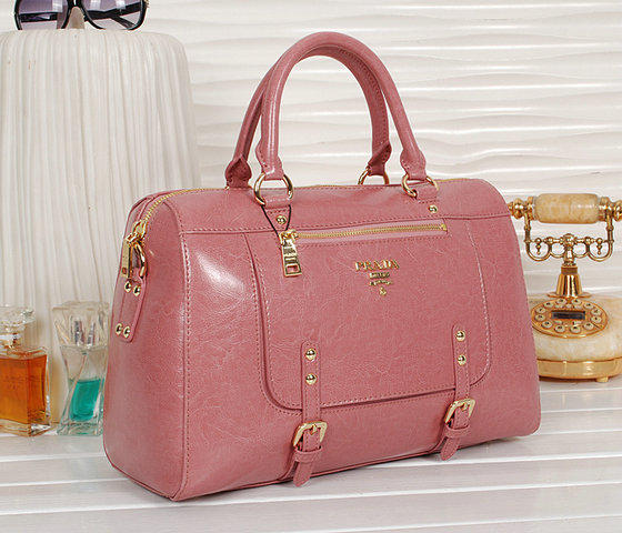 2013 New Prada Shiny Leather Tote Bag bn0828 in Pink