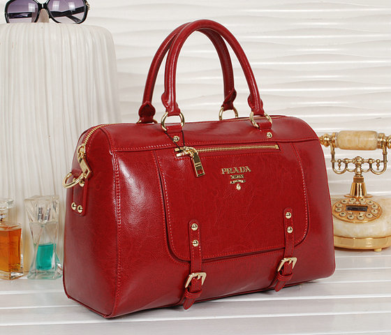 2013 New Prada Shiny Leather Tote Bag bn0828 in Red