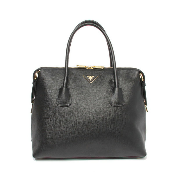 2014 New Prada Vitello Daino Bauletto Tote Bag BL0890 in Black