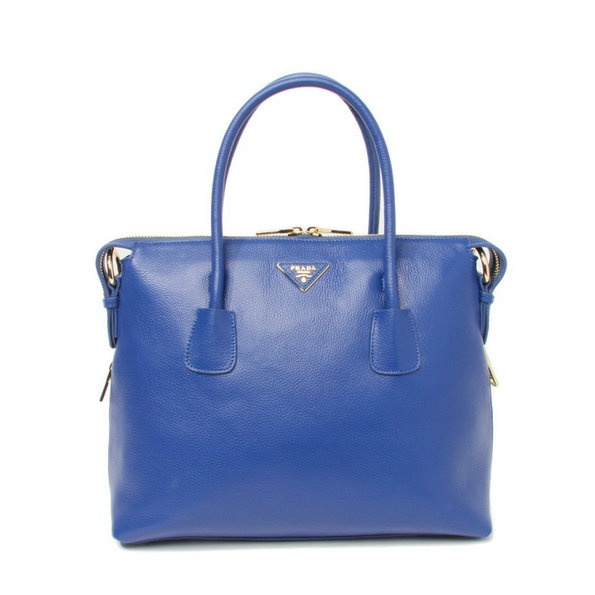 2014 New Prada Vitello Daino Bauletto Tote Bag BL0890 in Bright Blue