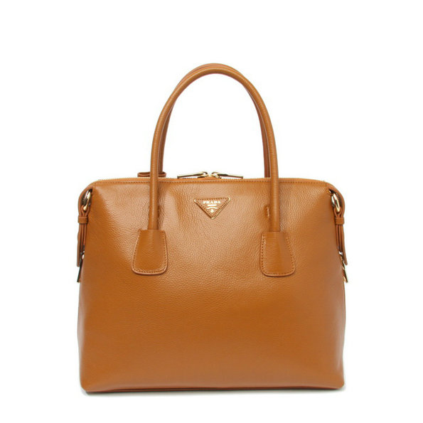 2014 New Prada Vitello Daino Bauletto Tote Bag BL0890 in Caramel