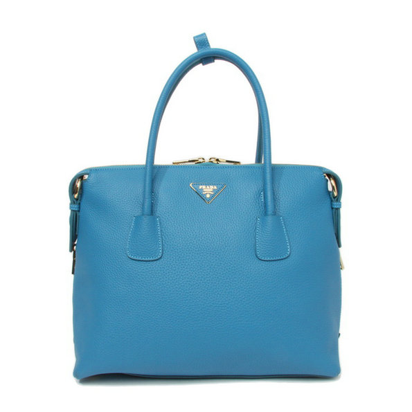 2014 New Prada Vitello Daino Bauletto Tote Bag BL0890 in Lake Blue