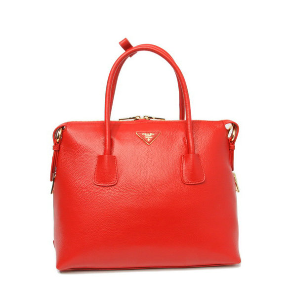 2014 New Prada Vitello Daino Bauletto Tote Bag BL0890 in Red