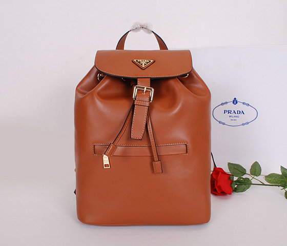 2014 Latest Prada Calf Leather Backpack BZ032L in Brown for Women