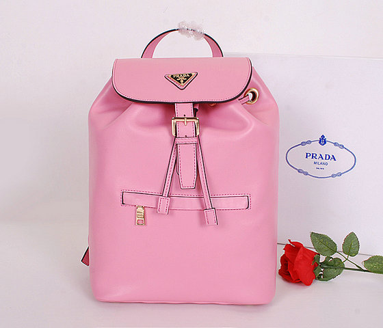 2014 Latest Prada Calf Leather Backpack BZ032L in Pink