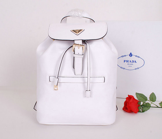 2014 Latest Prada Calf Leather Backpack BZ032L in White for Women