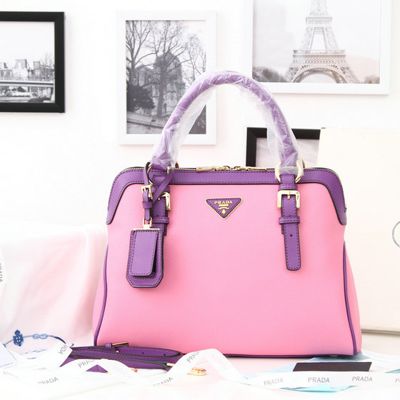 2014 New Prada Bicolor Boston Bag 0912 in Pink Soft Leather