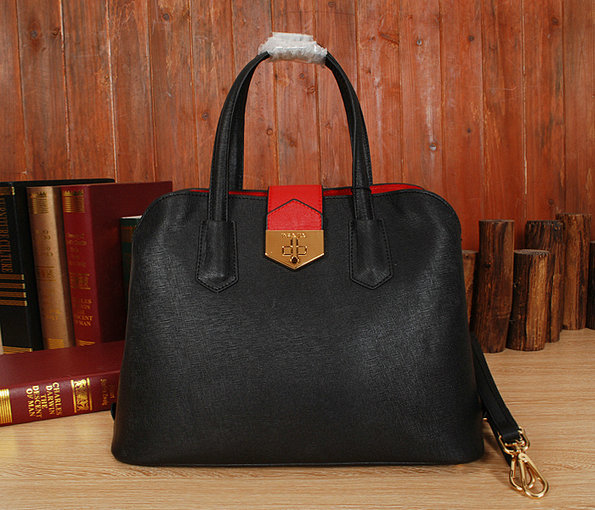 New Prada Handbags 2014-Prada Bicolor Saffiano Cuir Leather Tote BN2755 Black/Red