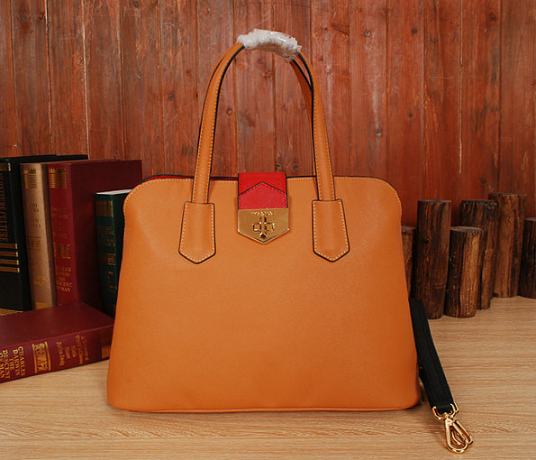New Prada Handbags 2014-Prada Bicolor Saffiano Cuir Leather Tote BN2755 Caramel/Red