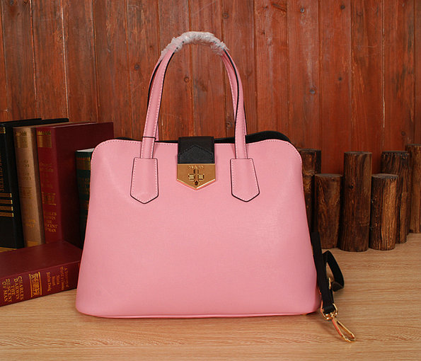 New Prada Handbags 2014-Prada Bicolor Saffiano Cuir Leather Tote BN2755 Pink/Black