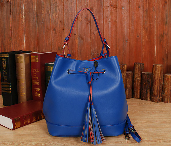 2014 New Prada Leather Bucket Bag BR5069 in Cornflower Blue