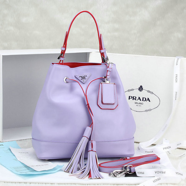 2014 New Prada Leather Bucket Bag BR5069 in Lavender