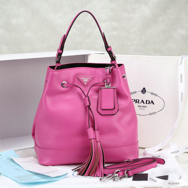 2014 New Prada Leather Bucket Bag BR5069 in Rose