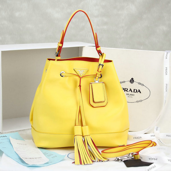 2014 New Prada Leather Bucket Bag BR5069 in Yellow