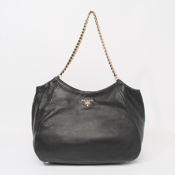 Prada Chain Shoulder Bag BR4826 in Black Soft Calfskin Leather