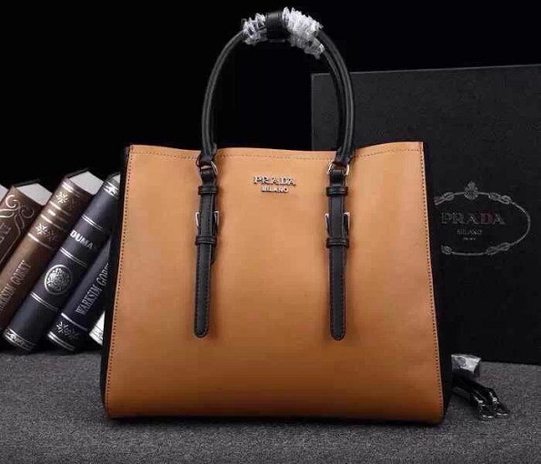 2014 A/W Prada City Calf Leather Bicolor Tote Bag BN2824