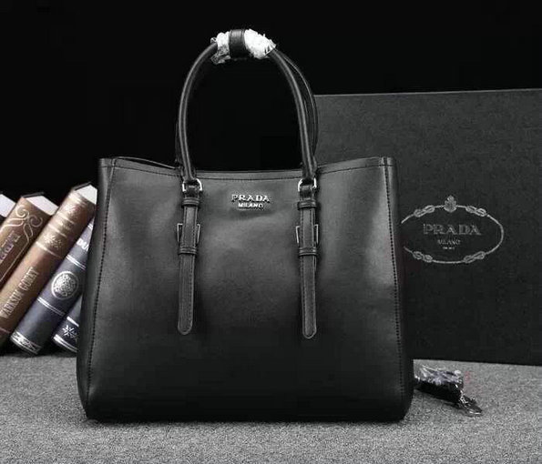 2014 A/W Prada City Calf Leather Tote Bag BN2824 in Black