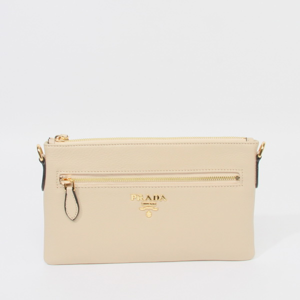 2014 New Prada Vitello Daino Leather Clutch/Crossbody Bag BN1187 in Beige