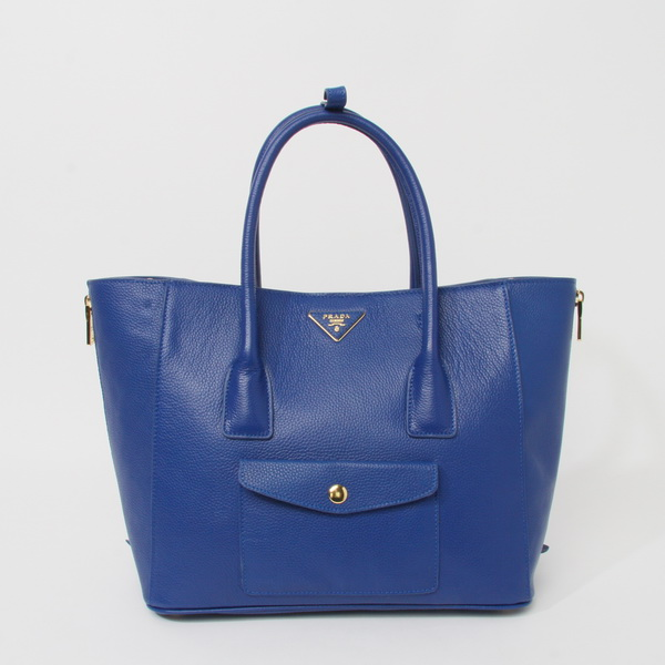 2014 New Prada Daino Side Zip Front Pocket Tote BL0898 in Blue Leather