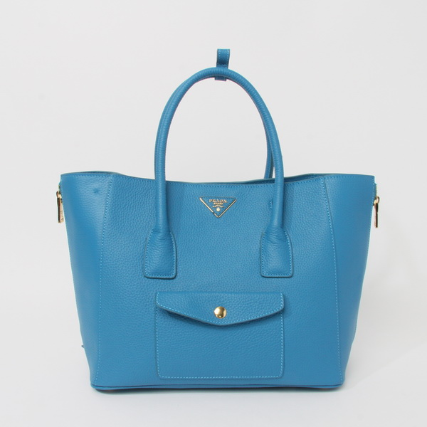 2014 New Prada Daino Side Zip Front Pocket Tote BL0898 in Light Blue Leather
