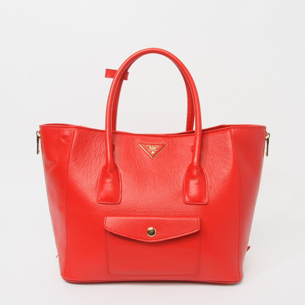 2014 New Prada Daino Side Zip Front Pocket Tote BL0898 in Red Leather