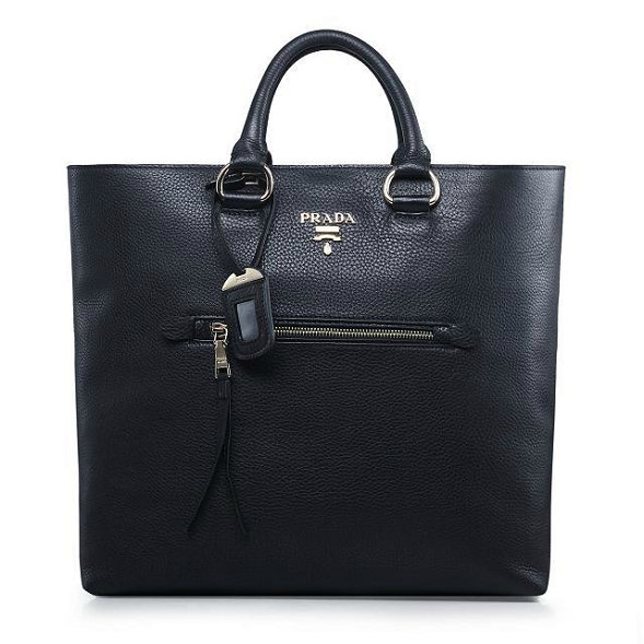 2014 Autumn/Winter Prada Vitella Daino Tote BN2754 in Black