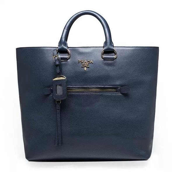 2014 Autumn/Winter Prada Vitella Daino Tote BN2754 in Ink Blue