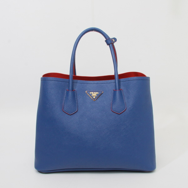 2014 New Spring/Summer Bag-Prada Saffiano Cuir Double Tote Bag BN2756 in Cornflower Blue Leather