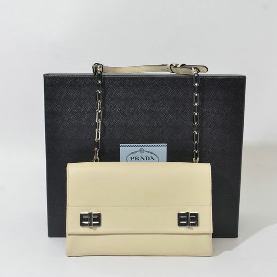 2014 Latest Prada Double Flap Shoulder Bag BT0995 in Apricot Original Leather