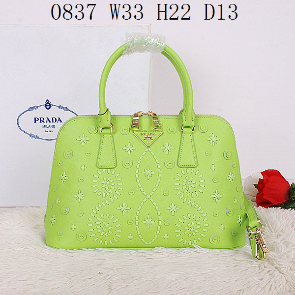 2014 Latest Prada Embroidered Saffiano Top Handle Bag BL0837 in Green