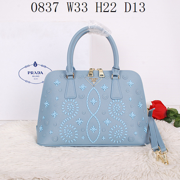2014 Latest Prada Embroidered Saffiano Top Handle Bag BL0837 in Light Blue