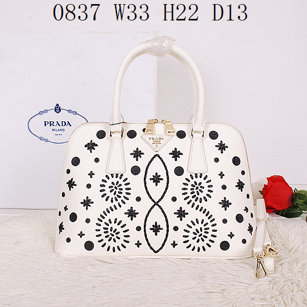2014 Latest Prada Embroidered Saffiano Top Handle Bag BL0837 in White