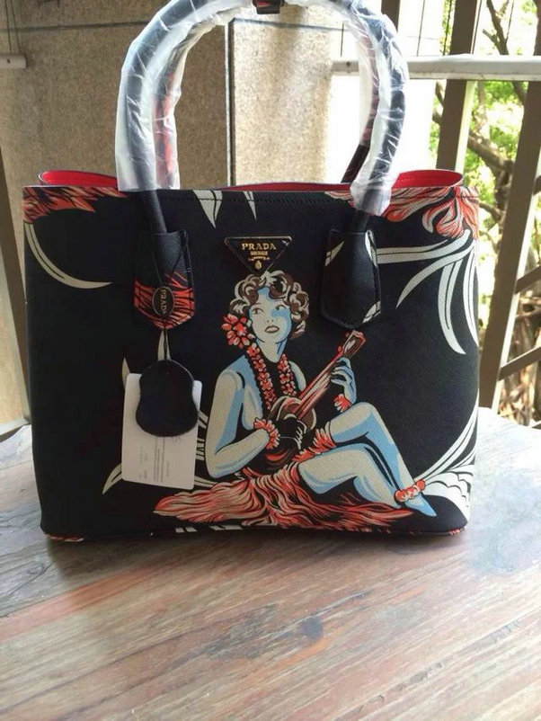 2014 New Prada Saffiano Hula-Print Double Bag BN2756 in Black