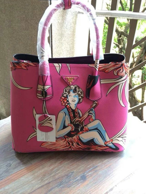 2014 New Prada Saffiano Hula-Print Double Bag BN2756 in Rose
