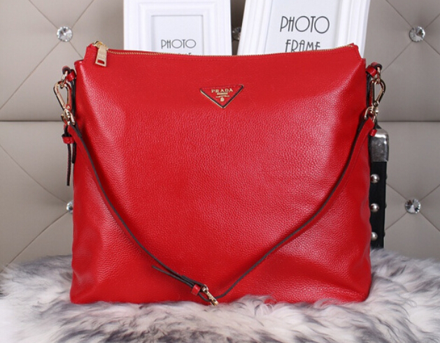 2014 Autumn/Winter Prada Vitello Daino Shoulder Bag in Red