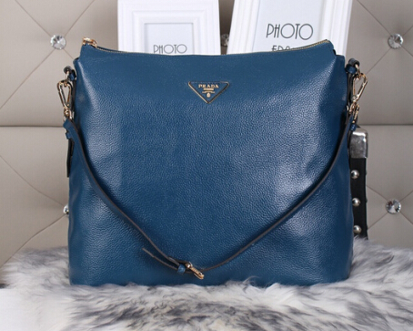 2014 Autumn/Winter Prada Vitello Daino Shoulder Bag in Royalblue