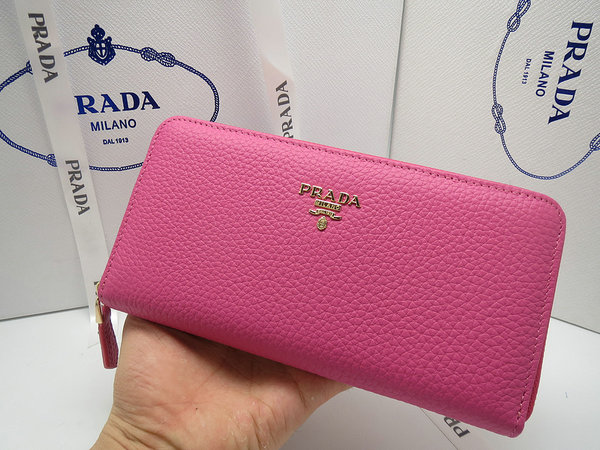 2014 New Prada Grained Calf Leather Wallet 1M0506 in Peony Pink