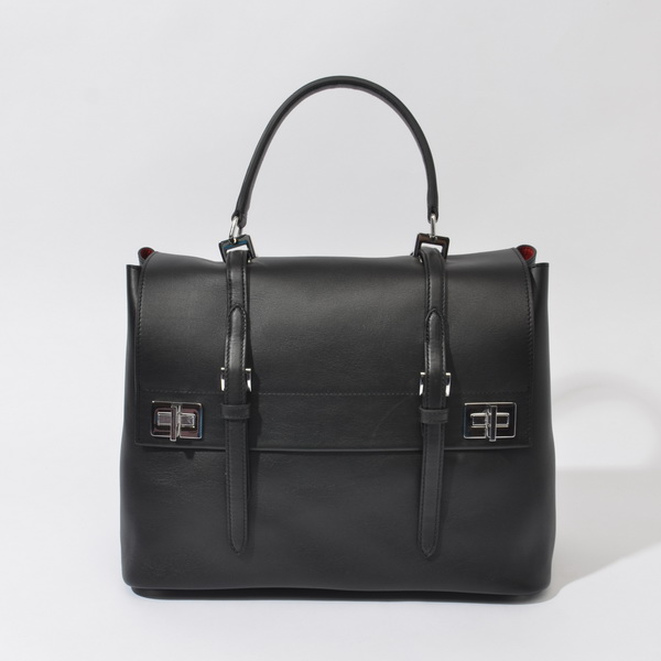 2014 Fall/Winter Prada Calf Leather Flap Briefcase BN2789 in Black