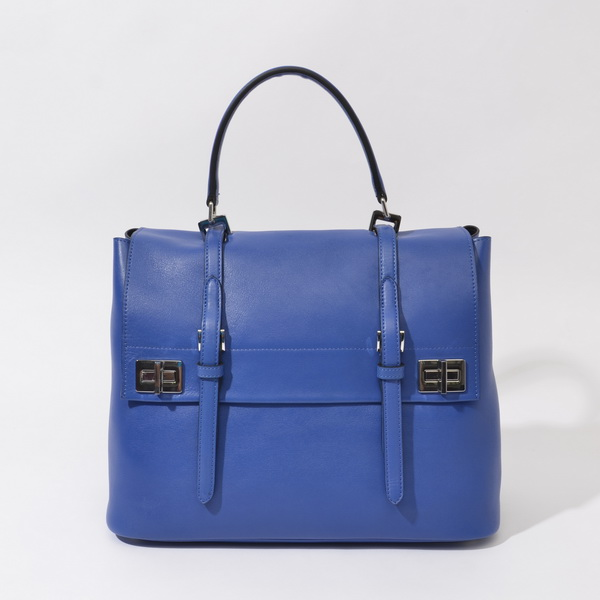 2014 Fall/Winter Prada Calf Leather Flap Briefcase BN2789 in Blue