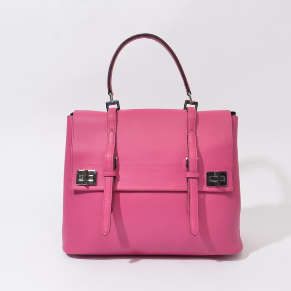 2014 Fall/Winter Prada Calf Leather Flap Briefcase BN2789 in Fuchsia