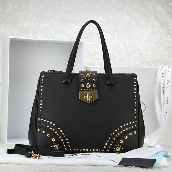 2014 Latest Prada Black Leather Saffiano Tote B2752M with Metal Studs