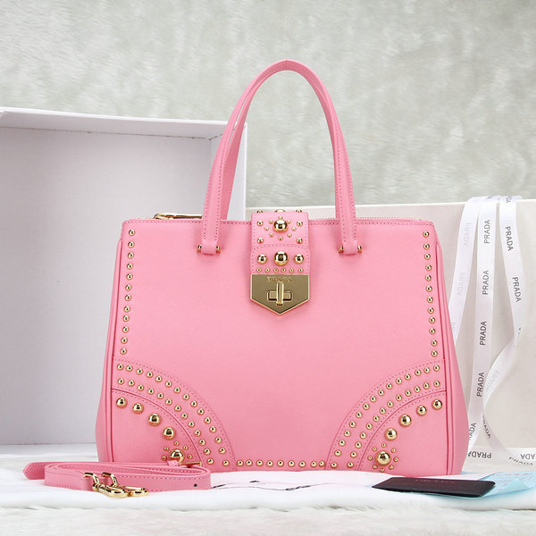 2014 Latest Prada Pink Leather Saffiano Tote B2752M with Metal Studs