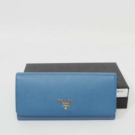2014 Latest Prada Saffiano Metallic Gold Flap Wallet 1M1335 in Blue